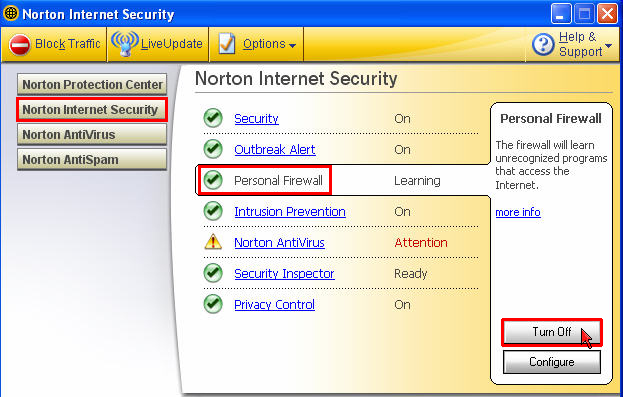 Turning off Norton Internet Security Firewall  TechWeb  Boston