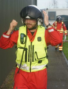 DSAA critical care paramedic Steve Westbrook heads towards the helicopter