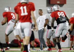 OSU coach Urban Meyer thankful for returning QB and center