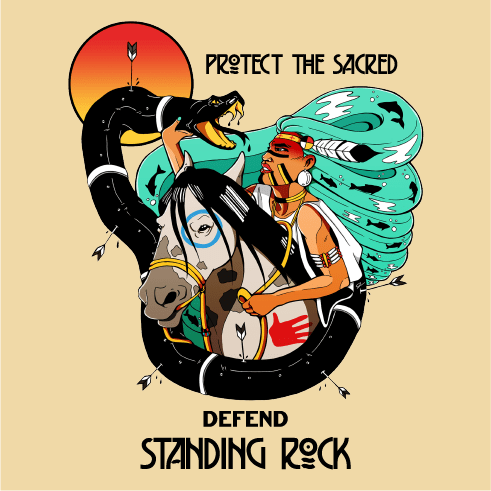 Protect the Sacred, Defend Standing Rock, #NODAPL illustration by indigenous artist Jackie Fawn.