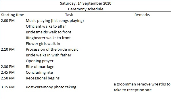 Wedding day timeline - Sample and Template Budget Brides Guide  A - wedding schedule templates