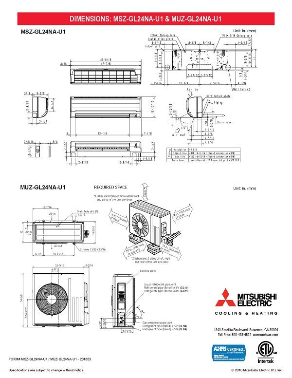 Mini Split 24,000 BTU Mitsubishi 205 SEER Heat Pump System