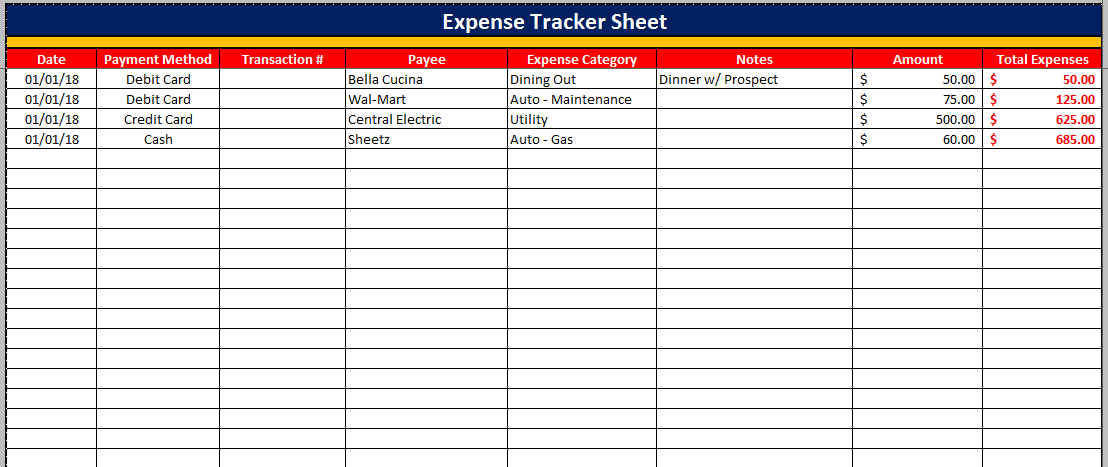 Monthly Expenditure Template – Monthly Expenditure Template