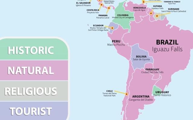 mapa turismo america do sul