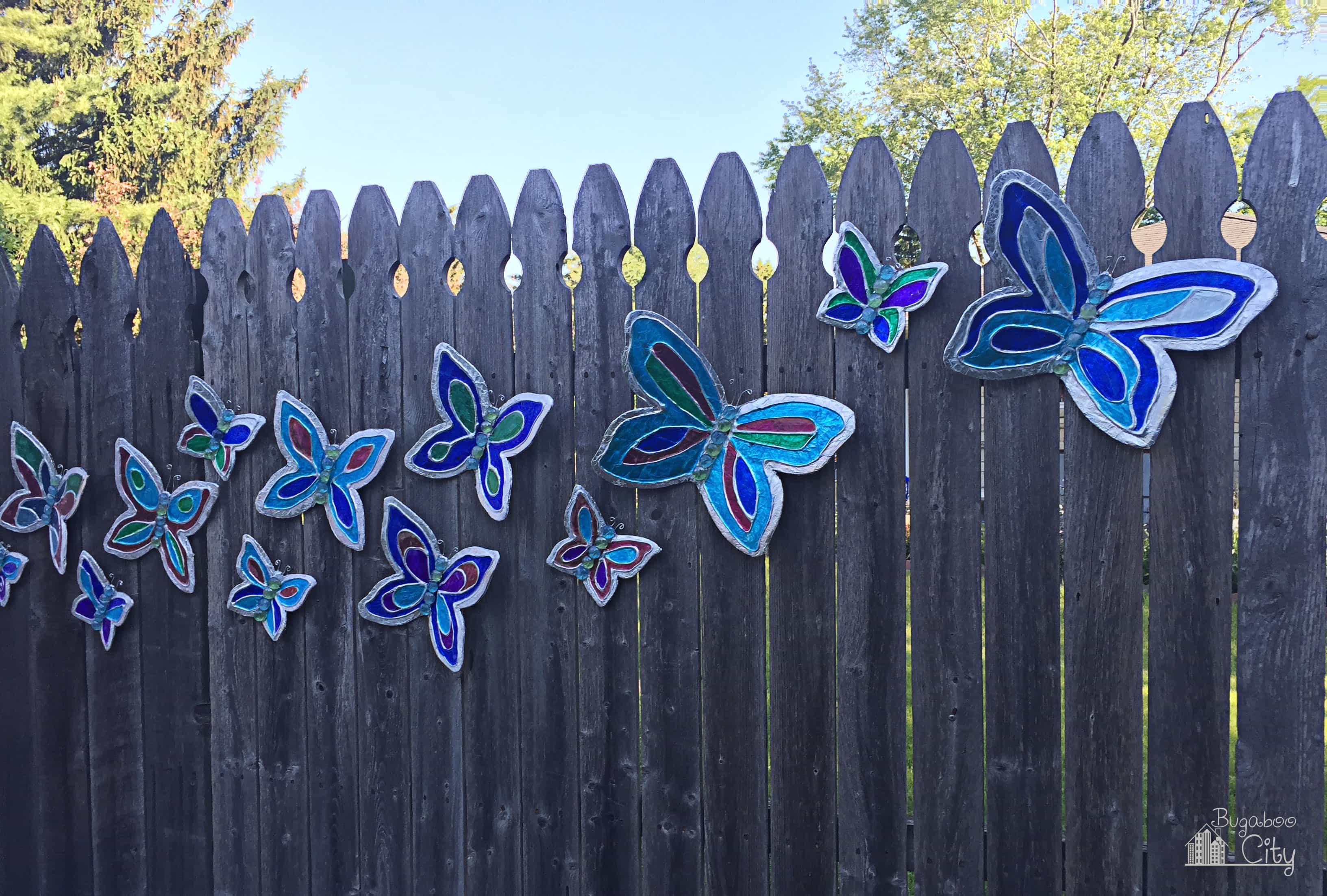 Once they have dried your butterflies are finished and ready to be put outside diy butterfly lawn ornament