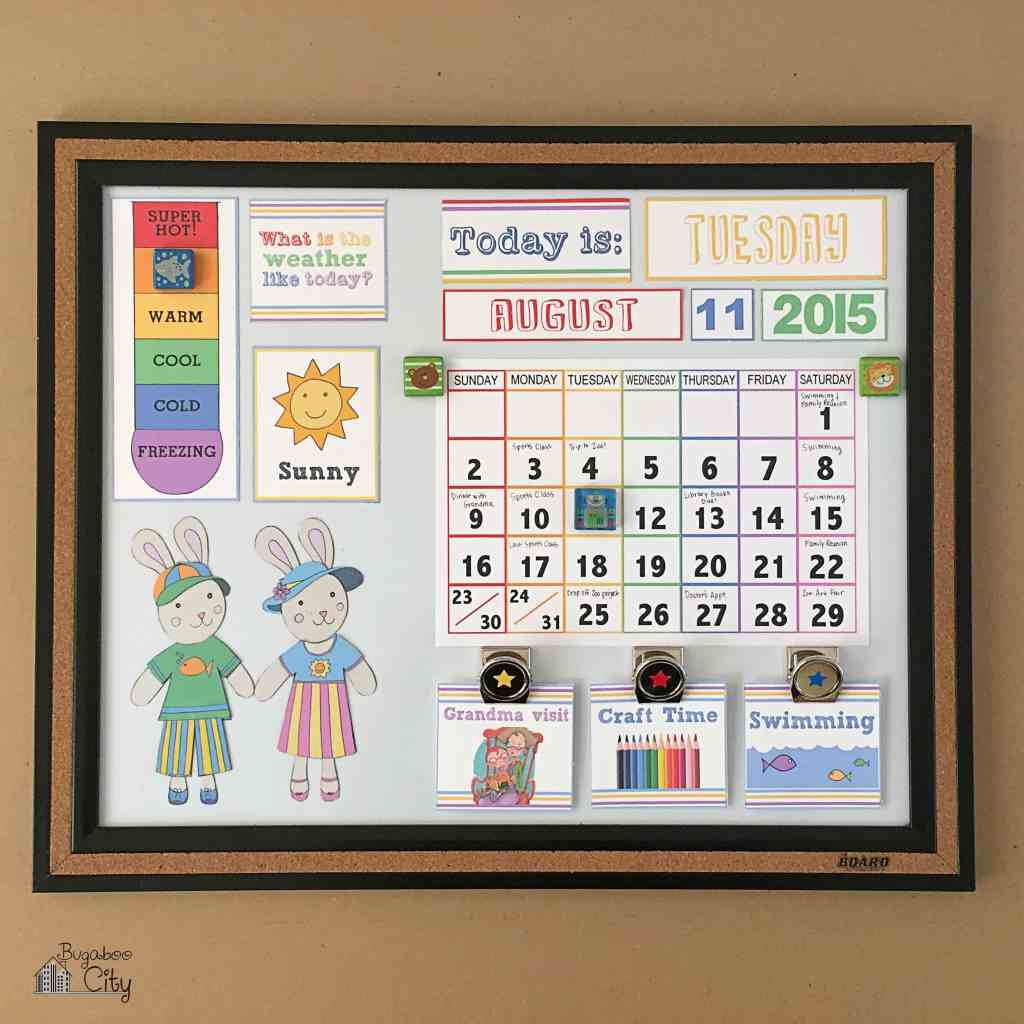 DIY Toddler Calendar Fabric Magnet Holder 3