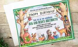 Woodland Animal Book Party Invitations