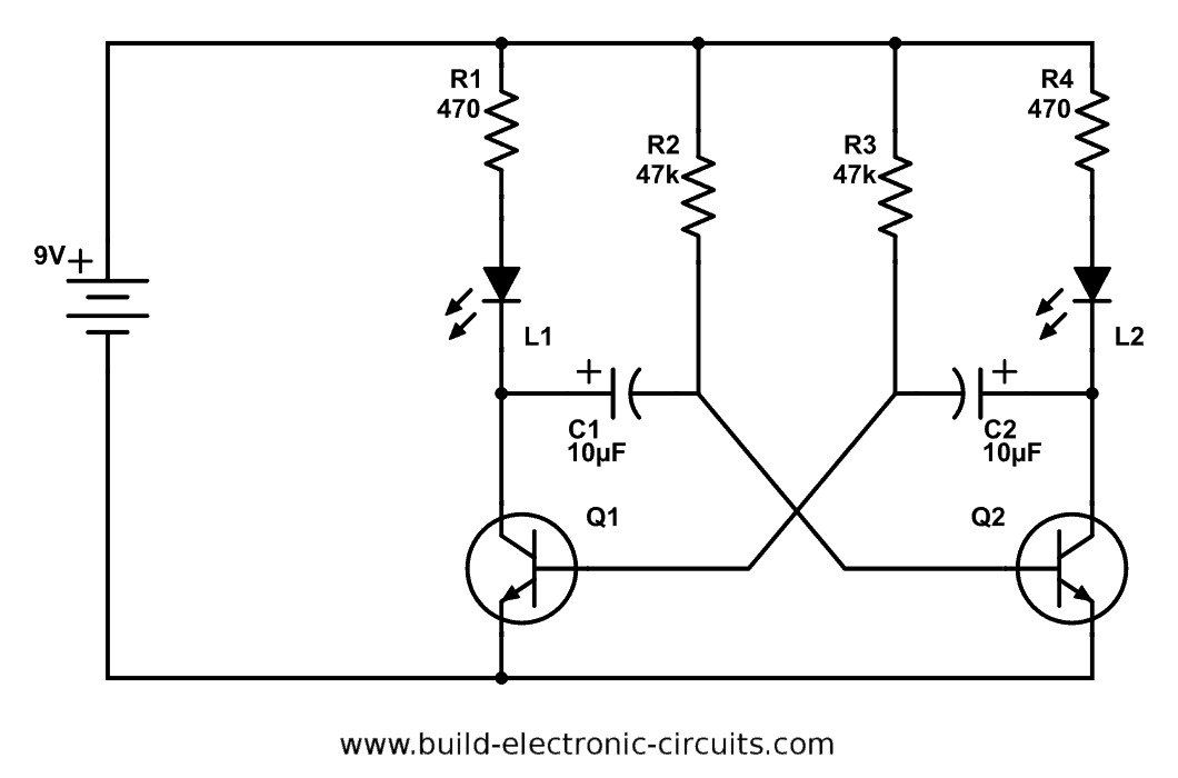 transistor dual led flasher circuit