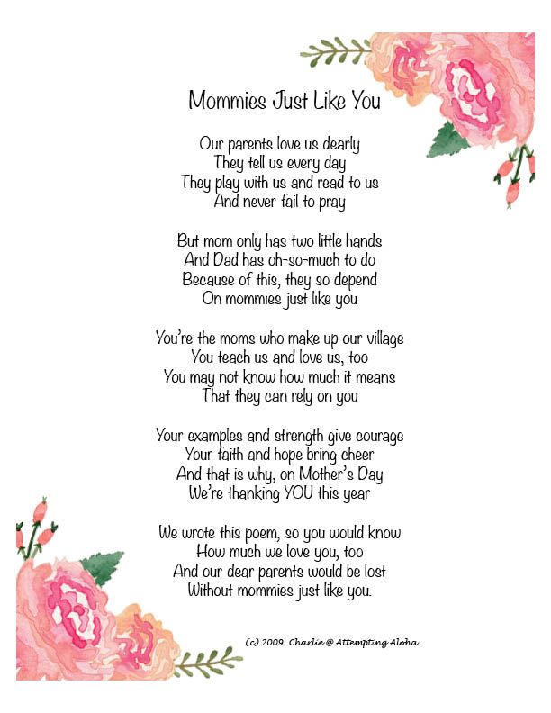 Mommies Just Like You \u2013 Mother\u0027s Day Poem