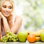 lady looking at fruits