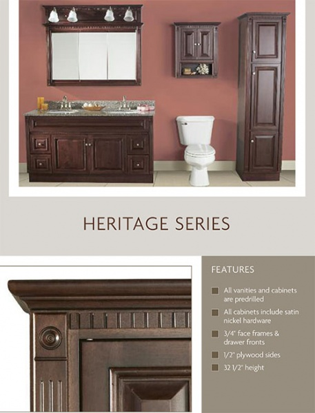 Heritage Vanity Bathroom Furniture In Stock Cabinet All Wood Discount Sale Lancaster