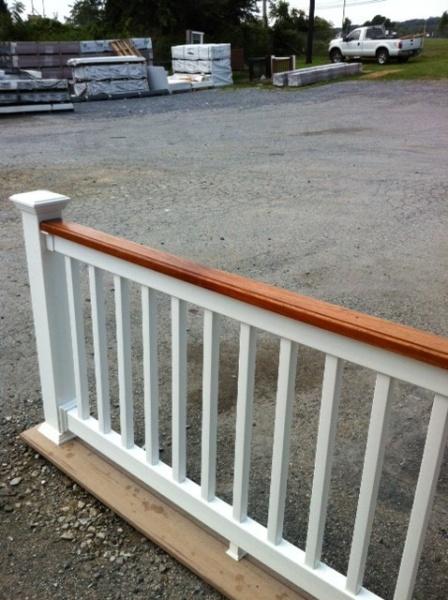 Custom fairway railing cedar top white vinyl overstock in for Vinyl decking material