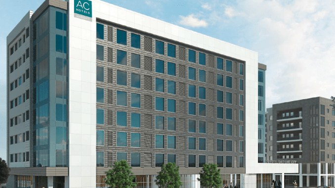 Rendering of the AC Hotel  and Peg Apartment development as designed by FFKR Architects.  Image courtesy Salt Lake Planning Division.