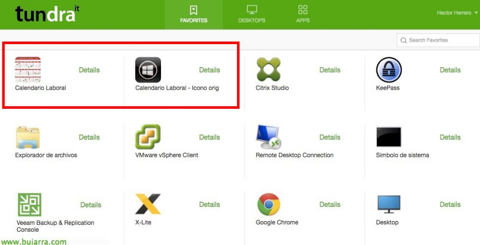 Customizing the icons on virtual desktops or applications containing