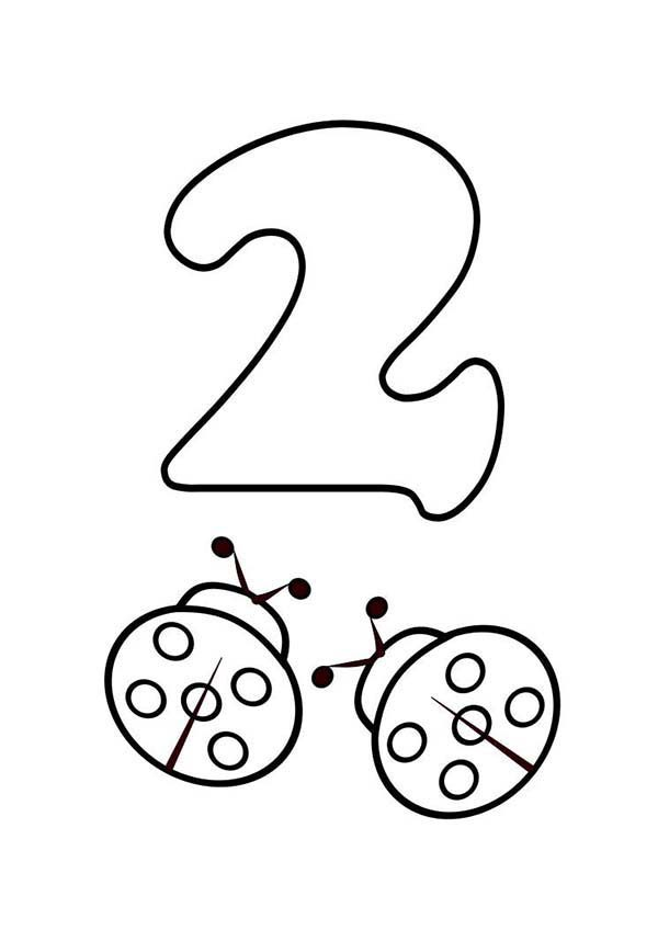 coloring pages of number 2 with eyes for kids