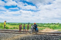 Crossing a railway track near Pehsari Dam