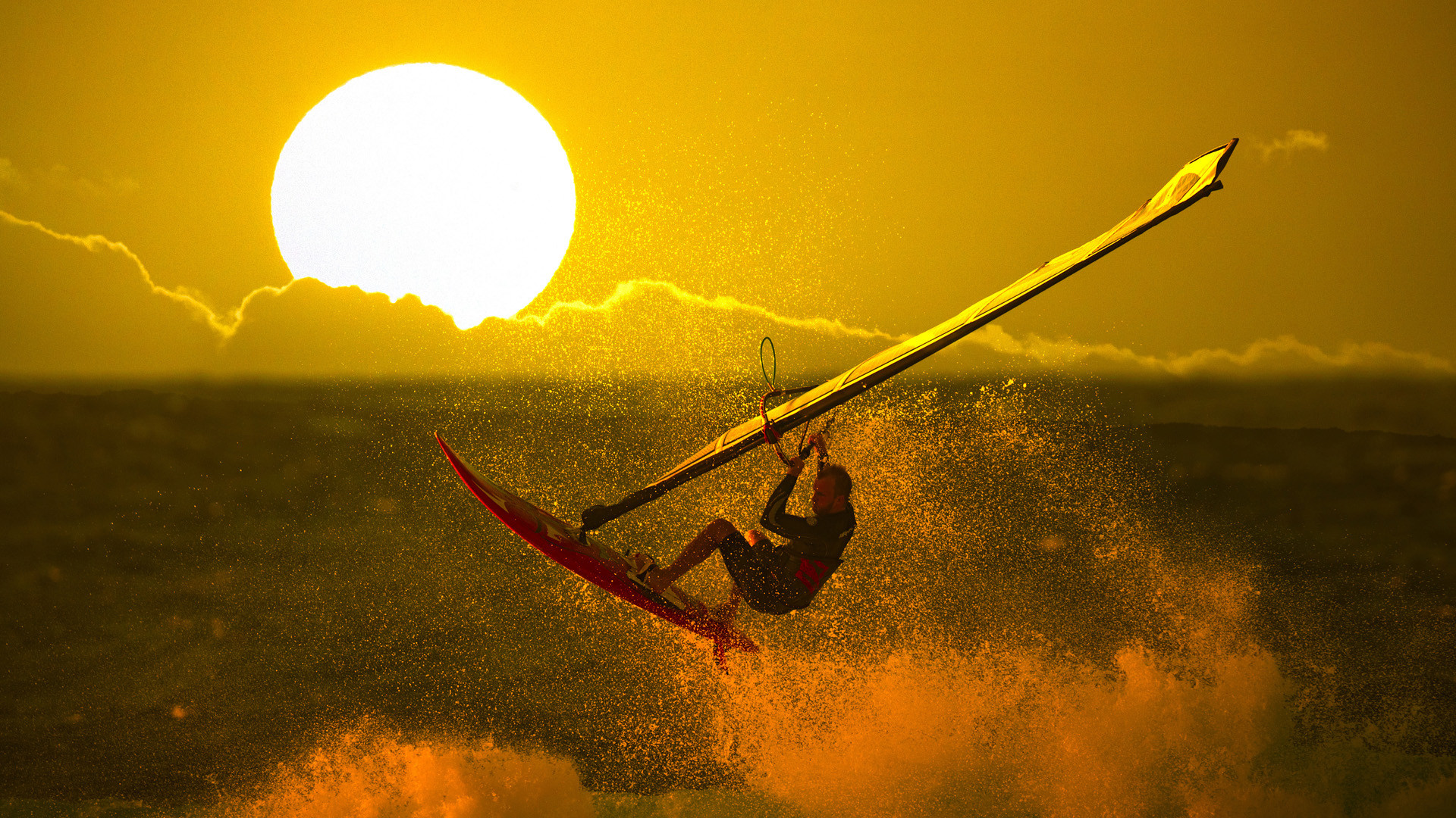 Wallpaper Hd Surfer Girl Windsurfing Sport Sonne Sun Sunset Sonnenuntergang