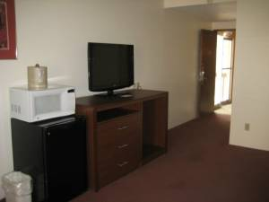 Each guest room has a flat screen TV, fridge and microwave