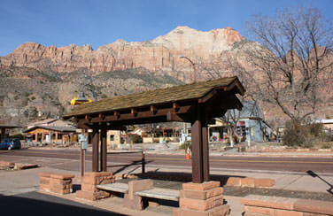 Zion's seasonal shuttle stops right in front of our property