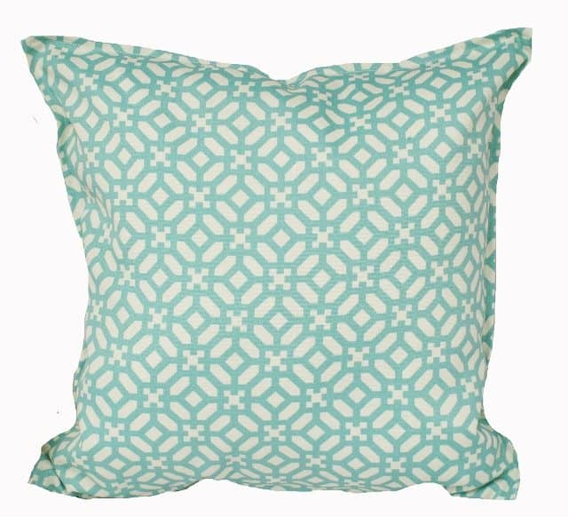 Aqua And Ivory Geometric Indoor Outdoor Cushion Cover