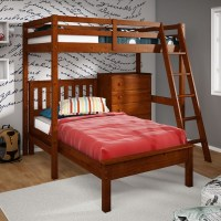Twin Size Loft Bed & Platform Bed with 5 Drawer Chest