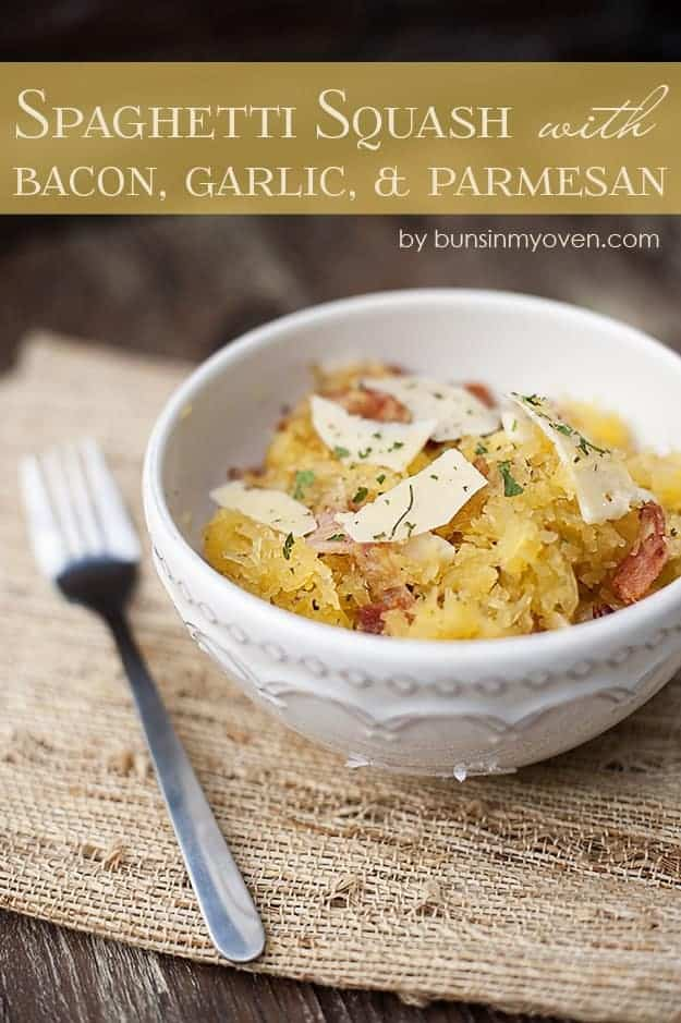 spaghetti squash recipe made with bacon, parmesan cheese, and garlic. This is such a great Fall dinner or lunch recipe!