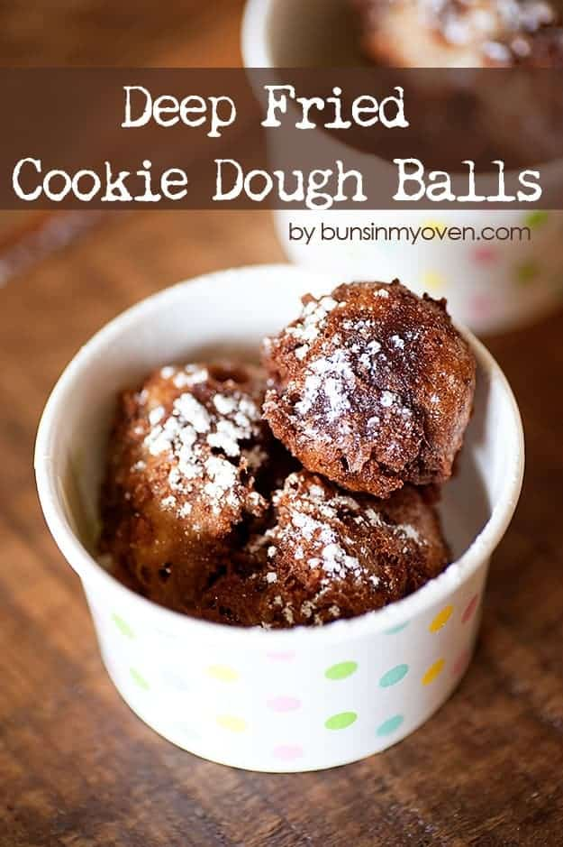 Deep Fried Cookie Dough #recipe by bunsinmyoven.com   Fair food at home! Warm, melty, and pure perfection!