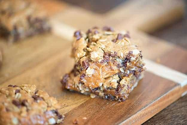 cookie bars are bursting with a thick and gooey caramel peanut butter ...