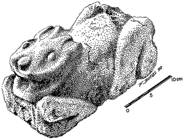 Illustration of stone rabbit sculpture from the Oztoyahualco 15B apartment compound. (Manzanilla ed.1993; drawing by Fernando Botas). http://bit.ly/2bEl0bZ . Via http://bit.ly/2bDOKEN