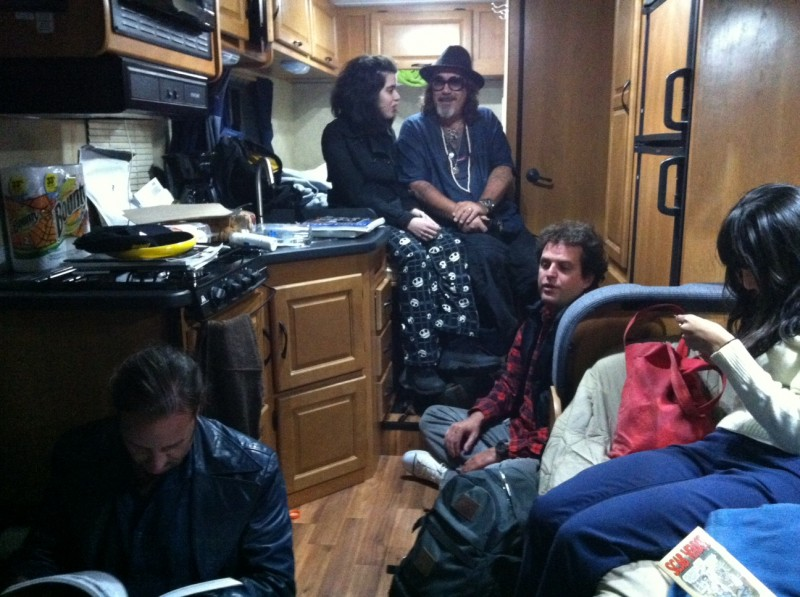 Jonathan Shaw, writer, son of Jazz musician Artie Shaw, with his wife Julia, joins us for a late night drink in the camper. Jon and Julia may become subjects for the book.