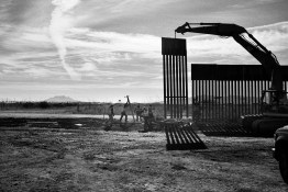 The new wall / fence between Mexico and the US is constructed at Douglas, Arizona. The wall replaces the much lower previous one.
