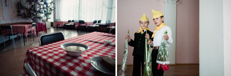 Left: A dining hall from the Soviet time still serves customers in Balaklava. Right: Young pioneers prepared flowers for the Victory Day.