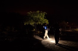 Deputies of the Brooks County Sheriff's Department track three migrants who were reported trespassing.