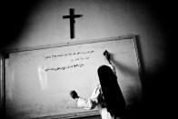 A nun in St. Pauls school in Qaraqosh where Aramaeic, the ancient language of Jesus, is still being taught.