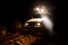 An evening hunt: spotlights mounted on top of a vehicle are used to track kangaroos, emu and wild boar at night. David Maurice Smith/Oculi.