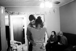 John and Paradise, who had not met before, dance at a birthday party. Brooklyn, NY. November 09, 2014