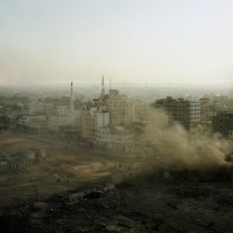 Early morning view on an empty space still burning after hit in an israeli air strike during the Pillar of defense.