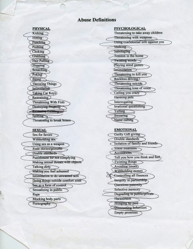 A sheet listing the types of abuse you can experience during in an domestic violent relationship. With this particular sheet an anonymous woman circled the types of abuse and control she experienced during her abusive relationship. The shelters asks that women circle the experiences that apply to them, often highlighting the magnitude of their violent domestic relationship. Often times the women do this alone, as the purpose of this is to help the women understand the gravity of their situation. (Williston, North Dakota / 2015)