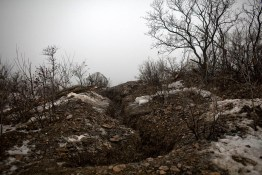 A trench used by Pro Russia rebels frontline near Grolivka, E Ukraine.