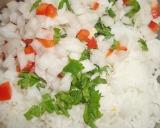 Mezclar arroz con cebolla