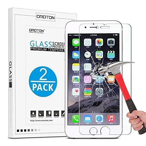 [2 Pièces] iPhone 7/iPhone 6SE Film Vitre Protection Verre Trempé [9H Dureté et 3D Touche] Omoton Ecran Protecteur Pour iPhone 7 (4.7 Pouce)
