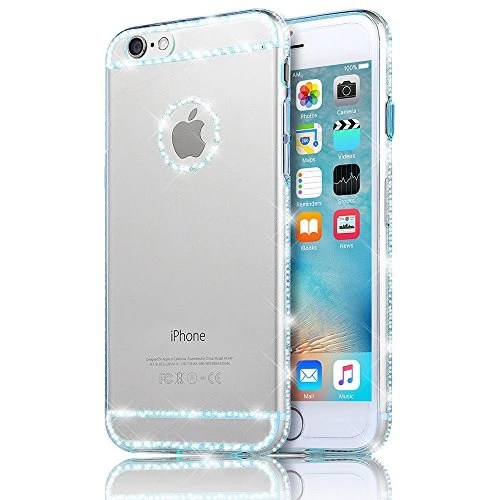 iPhone 6 6S Coque – Sunnycase® Ultra-mince Transparent Coque Etui TPU Gel Silicone Doux Soft Back Cover Protection Arrière Compact Shock Absorption Bumper Telephone Portable Accessories pour Apple iPhone 6/6S (4.7 pouces) – Bleu