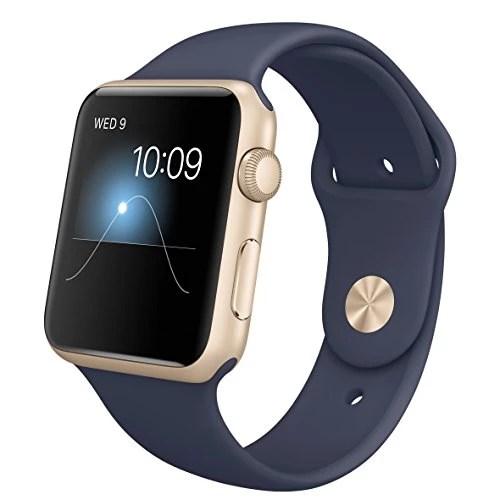 Apple mlc72fd/A Aluminium Brassard de sport pour Apple Watch (42mm Bleu/doré)