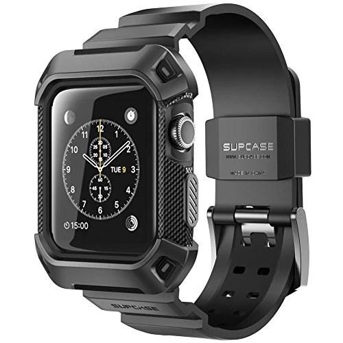 Apple Watch 42 mm case, SUPCASE [Unicorn Beetle Pro] étui pour Apple Watch / protection solide avec sangle pour Apple Watch / sangle pour Sport / édition 2015 pour horloge (noir)