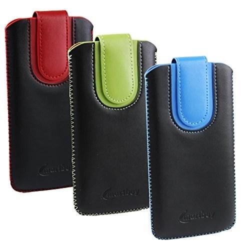 Emartbuy® Pack de 3 – Noir / Rouge , Noir / Blue & Noir / Vert Étui Coque Case Cover en cuir PU ( Taille LM4 ) avec Languette Push Up Adapté Pour Xgody D10 5.5 Pouce Smartphone