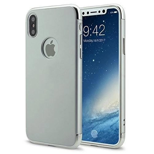iPhone X Coque Étui Hybrid en Polycarbonate 3 en 1 Ultra Mince Antichoc ÉTUI HOUSSE Protecteur(iphoneX 5.8,argent)