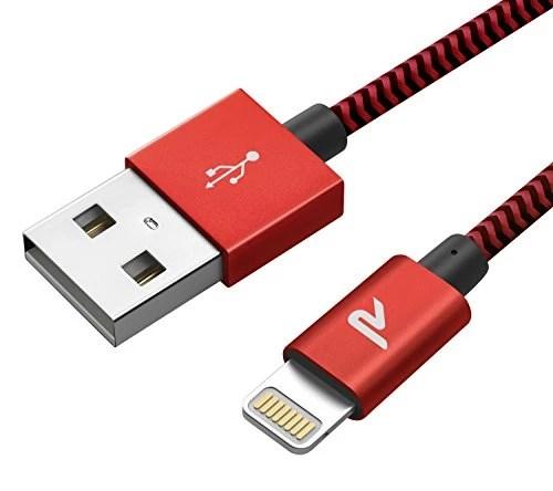 Câble iPhone [2m/6.5ft] Rampow® [MFI certifié Apple] Câble Lightning vers USB en Fibre de Nylon Tressé – GARANTIE À VIE – Chargeur iPhone avec Connecteur Ultra Résistant en Aluminium pour iPhone 8 / 8 Plus / 7 / 7 Plus / SE / 6s / 6s Plus / 6 / 6 Plus / 5c / 5s / 5, iPad Pro, Air, iPad mini et Des Autres – Rouge et Noir [Nouvelle version]
