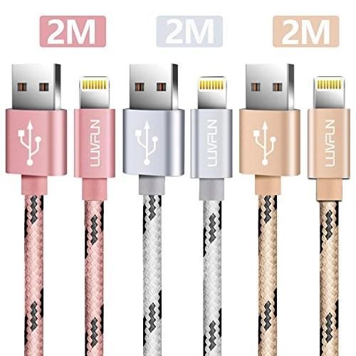 [3-PACK] Câble iPhone, LUVFUN® 2M Nylon Tressé Câble Lightning Chargeur iPhone avec Aluminium Connecteur Résistant pour iPhone 8 / 8 Plus / 7 / 7 plus / 6s / 6s plus / 6 / 6 plus / SE / 5s / 5c / 5, iPad 2/ 3 /4 Mini, iPad Pro Air & More (Or Rose+Argent+Or )
