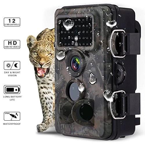 Powerextra Caméra de chasse FullHD 12MP 1080P ideal pour les chasseurs, détection grand angle de 120°, 3 zones de détection de mouvement infrarouge non lumineuses à vision nocturne (42 LED infrarouges), écran LCD 6 cm, caméra de surveillance pour environnements forestiers étanche IP66.