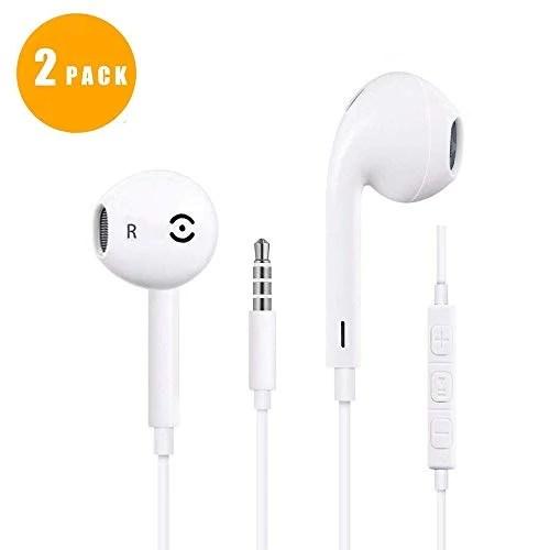 CYPIVY Écouteurs Intra-Auriculaires, Écouteurs Filaires avec Microphone et Volume Casque Stéréo Compatible avec iPhone 6S 6splus 6 6Plus 5S Se 5 5C 4S iPad iPod (2 Pack)